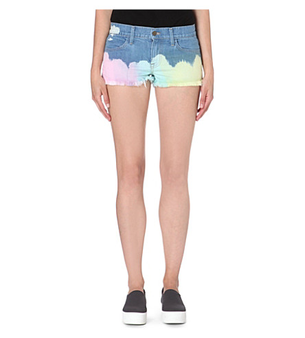 WILDFOX Ibize tie-dyed denim shorts (Wanderlust
