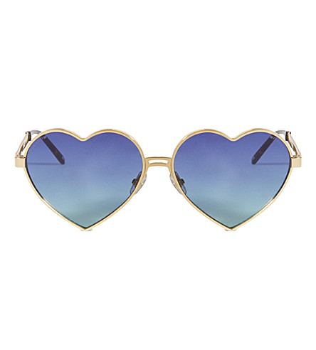 WILDFOX Lolita heart-frame sunglasses (Gold/multi gradient