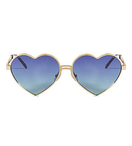 WILDFOX Lolita heart-frame sunglasses (Gold/multi gradient