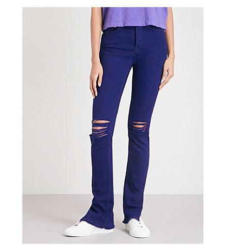 COTTON CITIZEN Distressed skinny high-rise jeans (Dark+purple