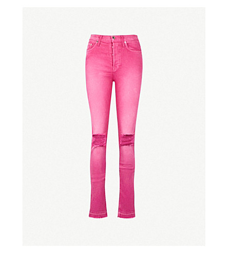 COTTON CITIZEN Ripped skinny high-rise jeans (Fuchsia