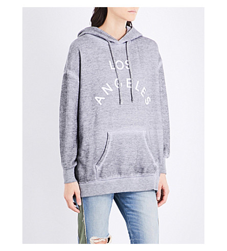 WILDFOX Los Angeles cotton-blend hoody (Heather+grey+/+white
