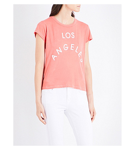 WILDFOX Los Angeles flocked-print cotton-jersey T-shirt (Pigment+inferno+red