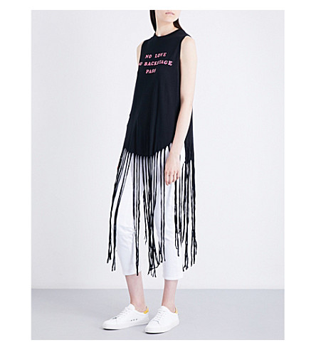WILDFOX No Love No Backstage Pass cotton-jersey top (Black+/+pink+glitter