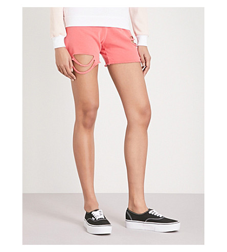 WILDFOX Roberta cotton-jersey shorts (Pigment+red+flare