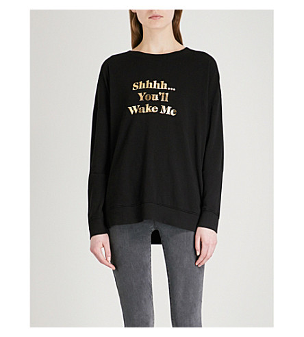 WILDFOX Shhhh… You'll Wake Me cotton-jersey sweatshirt (Black