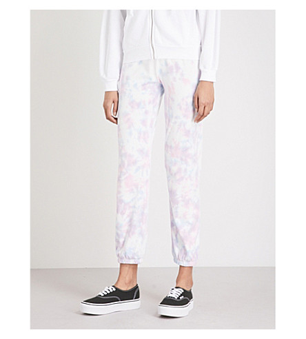 WILDFOX Easy Sweats mid-rise cotton-jersey jogging bottoms (Aura+tie+dye