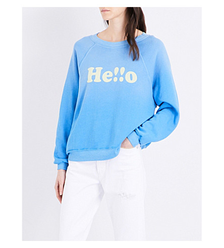 WILDFOX Hello printed cotton-jersey sweatshirt (Portrait+blue