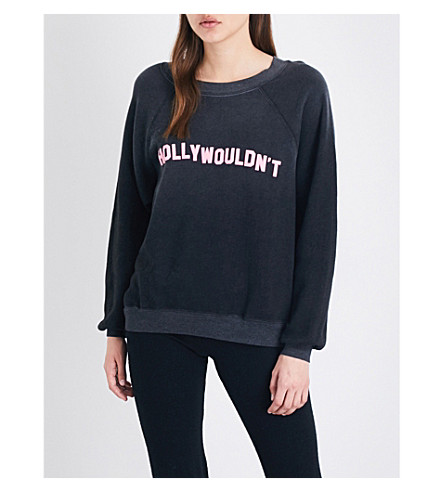WILDFOX Hollywouldn't cotton-blend sweatshirt (Clean+black