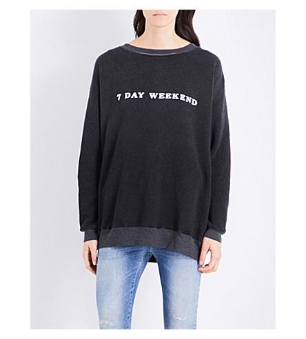 WILDFOX 7 Day Weekend cotton-blend sweatshirt (Black+/+white+graphic