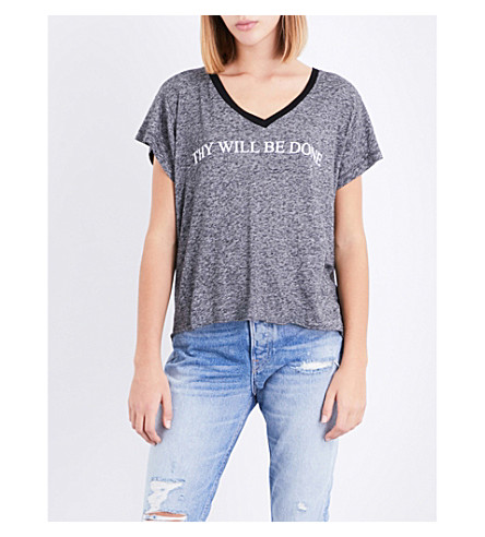 WILDFOX Thy Will Be Done jersey T-shirt (Heathered+black