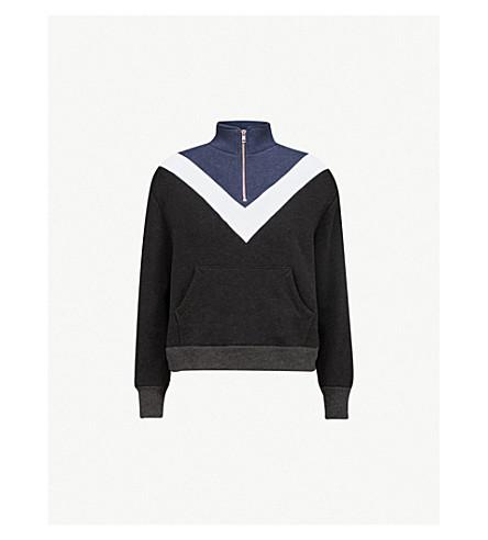 WILDFOX Colourblocked-打印平纹针织面料卫衣 (干净的黑色