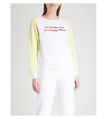 WILDFOX Friday Girl cotton-jersey sweatshirt (Clean+white
