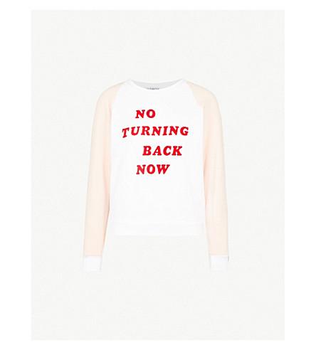 WILDFOX No Turning Back cotton-fleece sweatshirt (Clean+white+pink
