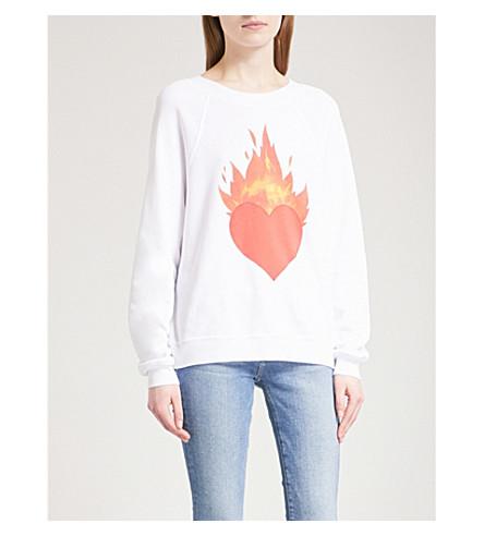 WILDFOX Burning Love cotton-blend sweatshirt (Clean+white
