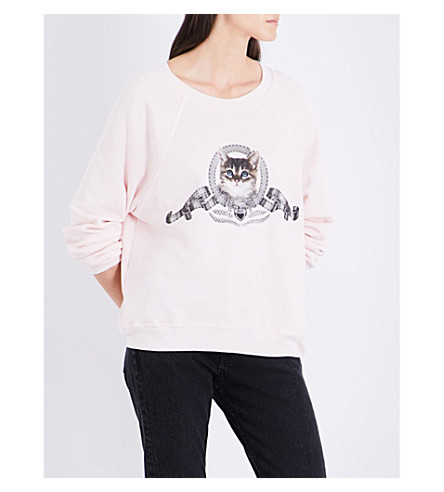 WILDFOX Silver Screen Kitten fleece sweatshirt (Pink+gloss