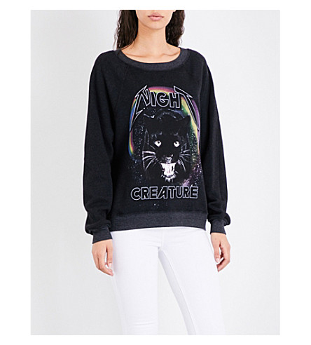 WILDFOX Night Creature jersey sweatshirt (Heathered+black