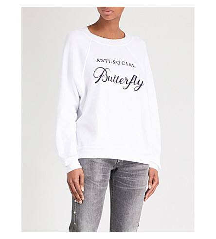 WILDFOX Anti-Social Butterfly cotton-blend jersey sweatshirt (Clean+white