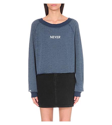 WILDFOX Never Ending Fun cotton-blend sweatshirt (After midnight blue