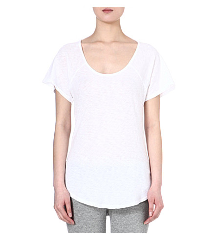 SUNDRY Scoop-neck cotton t-shirt (White