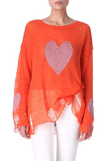 WILDFOX Knitted heart jumper