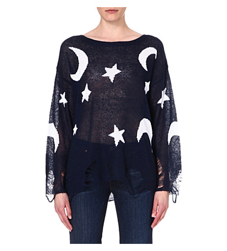WILDFOX Lennon knitted jumper (Navy/white