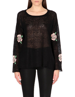 WILDFOX Rose-print knitted jumper