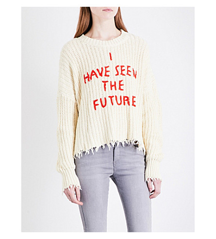 WILDFOX I Have Seen The Future chunky-knit jumper (Vintage+lace