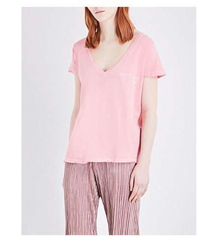 WILDFOX Bottoms Up cotton T-shirt (Peach crush
