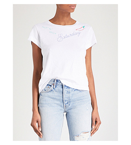 WILDFOX Saturday No9 embroidered cotton T-shirt (Clean+white