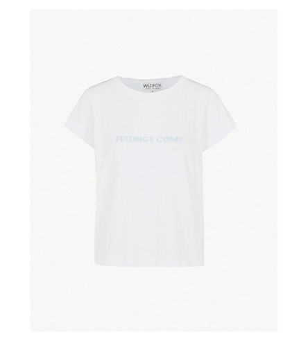 WILDFOX Feelings Come cotton-jersey T-shirt (Clean+white