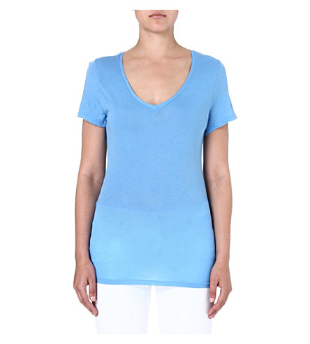 SUNDRY V-neck cotton-jersey t-shirt (Lagoon