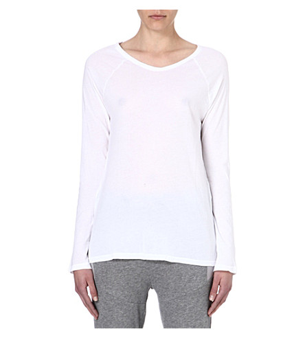 SUNDRY Long-sleeved jersey top (White