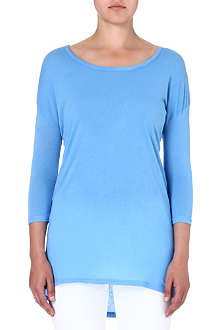 SUNDRY Crop-sleeved jersey top