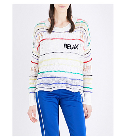 WILDFOX Relax striped open-knit jumper (Clean white