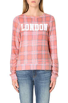 WILDFOX London tartan-print jersey top