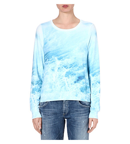 WILDFOX Sandbar wave-print sweatshirt (Blue
