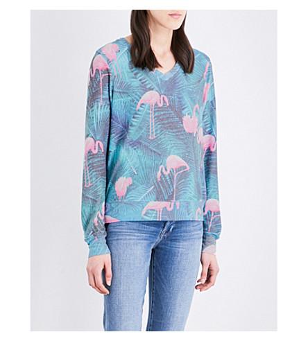 WILDFOX Miami Palms jersey sweatshirt (Flamingo pink