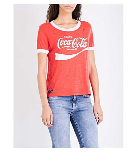 WILDFOX Coca Cola jersey T-shirt (Red+line/+clean+white