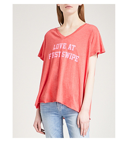 WILDFOX Keep Swiping cotton-blend T-shirt (Red+flare