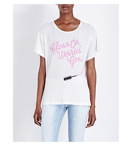 WILDFOX Gloss On, Worries Gone jersey T-shirt (Alabaster