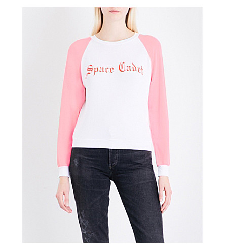 WILDFOX Space Cadet fleece sweatshirt (White+/+pink