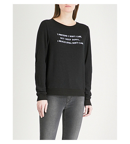 WILDFOX Deep Down cotton-jersey sweatshirt (Black