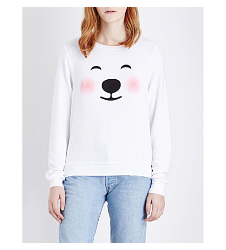 WILDFOX Polar Bear fleece sweatshirt (Clean white