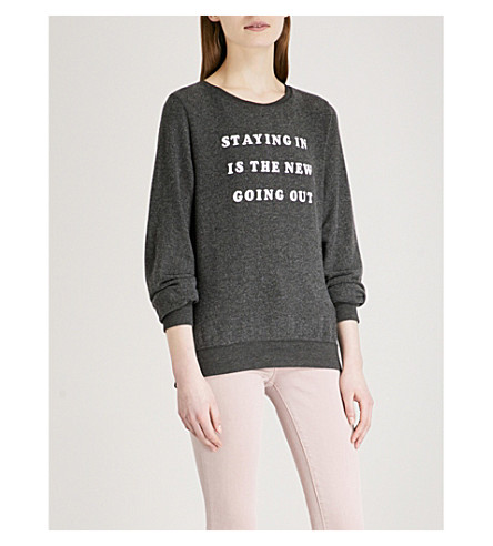 WILDFOX Staying In Is The New Going Out cotton-blend sweatshirt (Black