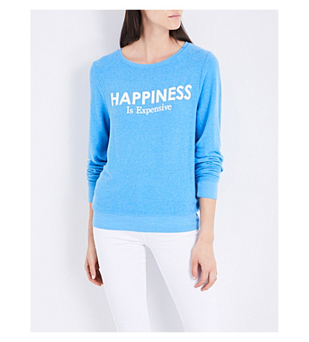 WILDFOX Happiness is expensive knitted sweater (Portrait+blue