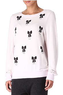 WILDFOX Bow-printed top