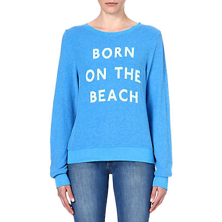 WILDFOX Born on the beach jersey sweatshirt (Cerulean