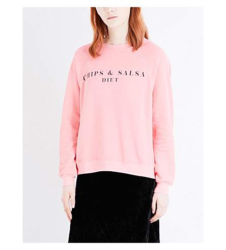 WILDFOX Chips & Salsa cotton-jersey sweatshirt (Peach+crush