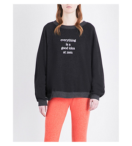WILDFOX Everything's A Good Idea cotton-blend sweatshirt (Clean black